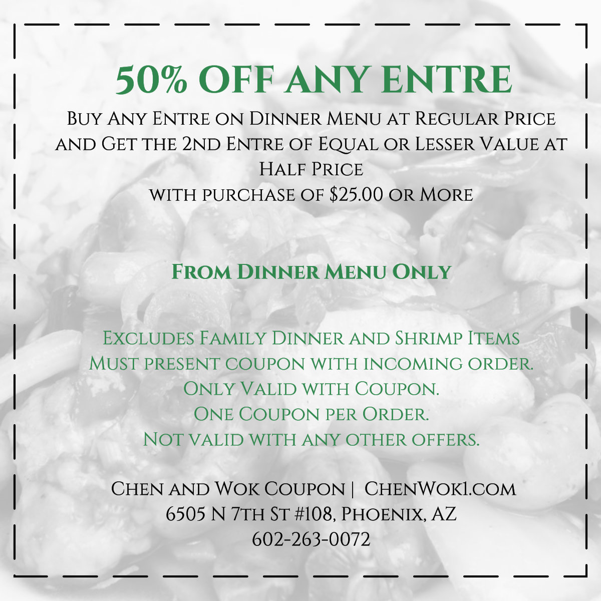 50% off Entre Chen and Wok Coupon