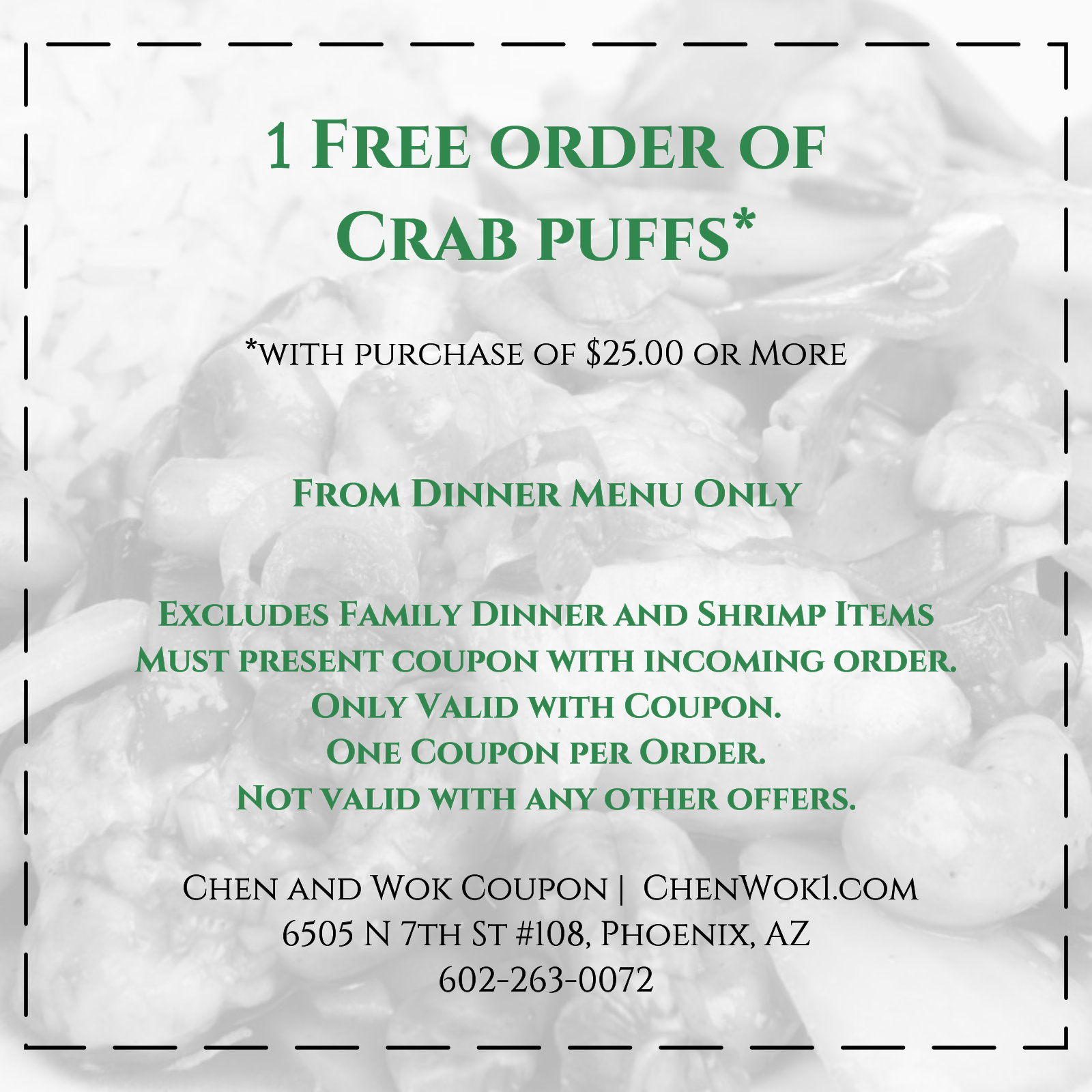 Chen and Wok Coupon Free Crab Puffs