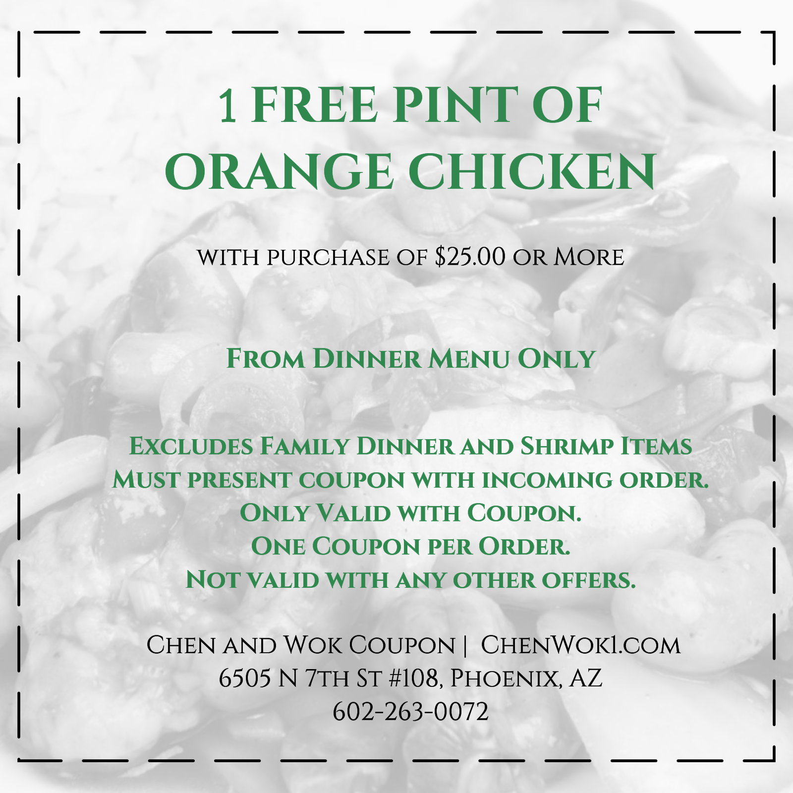 Chen and Wok Free Pint Orange Chicken
